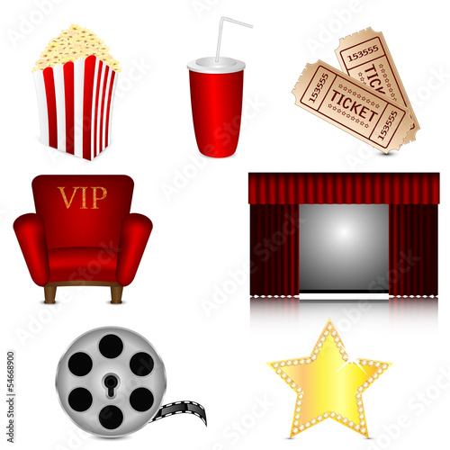 set of subjects for cinema isolated on white background.cinema i