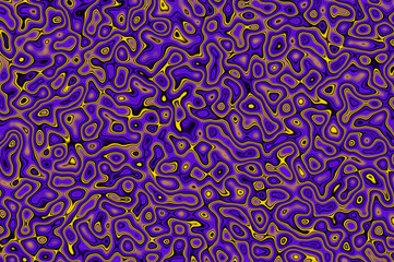 Glittering squiggles background - dark violet and lemon.