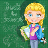 Back to school - cute girl with school books at the blackboard