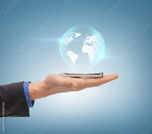 man hand with sphere globe