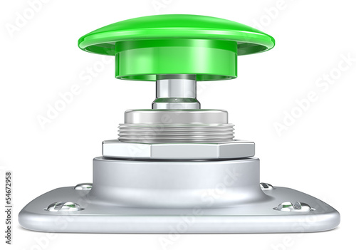 Green push button. Side view.