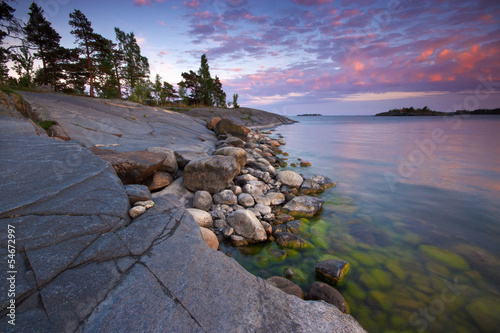 Summer evening landscape in sea coast