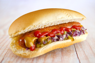 Hotdog with ketchup and mustard