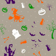 Seamless Vector Pattern with Halloween Icons