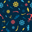 Seamless Vector Pattern with Nautical Elements
