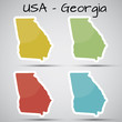 stickers in form of Georgia state, USA