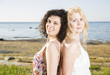 Two young womans at beach