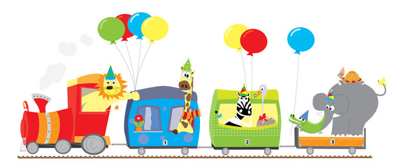 train with animals and balloons - vector illustration