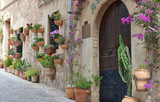 Typical Mediterranean Village with Flower Pots in Facades in Val