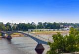 Great Novgorod.bridge through Volkhov and Yaroslavovo dvorishche