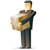 Vector illustration of a postman with a crate and documents
