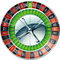 Illustration of casino roulette wheel with chrome elements