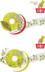 Mp3 and mp4 download. Icons for design