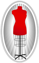 Tailor's Model, female mannequin dress form, red on oval frame