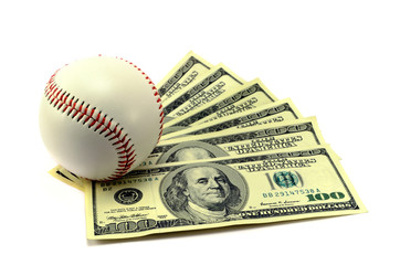 baseball ball and the banknotes
