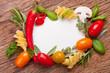 Rahmen aus Zutaten für die italienische Küche - Textfreiraum