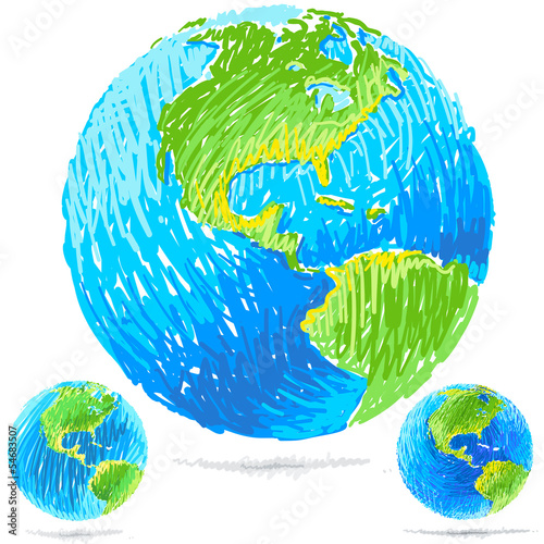 vector illustration of sketchy blue earth