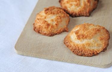 Freshly baked coconut macaroons, shallow dof