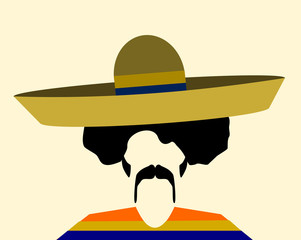 man with afro wearing sombrero and poncho