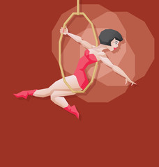 Pin-up cartoon girl circus aerial artist performace