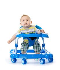 little  baby in the baby walker.