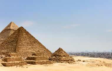 Pyramids in Egypt with the city of Cairo in the background