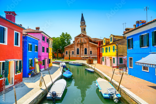 Venice landmark, Burano canal, houses, church and boats, Italy - 54689742
