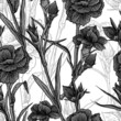 Seamless vintage black and white floral background