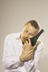 man, drunken and tired