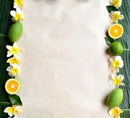 Tropical fruits with plumeria.frame.banana leaf background