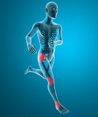 Uomo scheletro in corsa dolore ginocchio caviglia