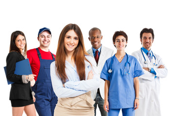 Woman in front of a group of workers