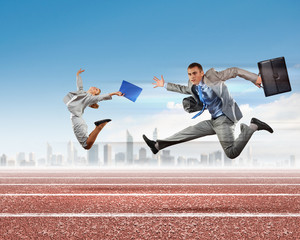 Business people competing
