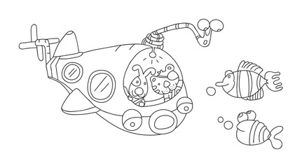 illustration of isolated hand drawn submarine underwater vector