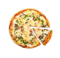 pizza with mushrooms and parsley