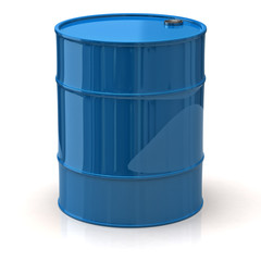 Blue oil barrel isolated on white background