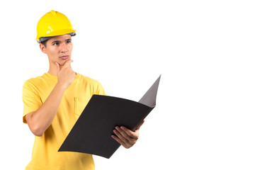 Young foreman with hard hat, isolated on white