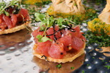 Bruschetta on gourmet wheat crackers