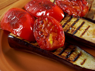 roasted eggplants with tomato and bell peppers