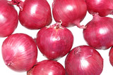 Cloe up of fresh red spanish onions isolated