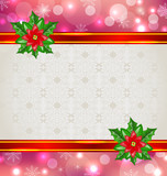 Christmas elegant card with flower poinsettia
