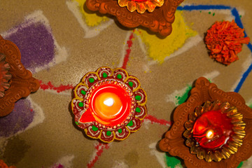Hindu Rangoli candle diva divali new year holi