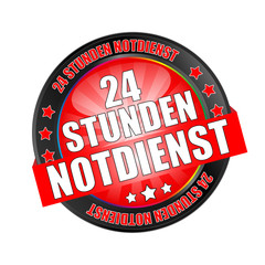 Icon Button Black and Red 24 Stunden Notdienst