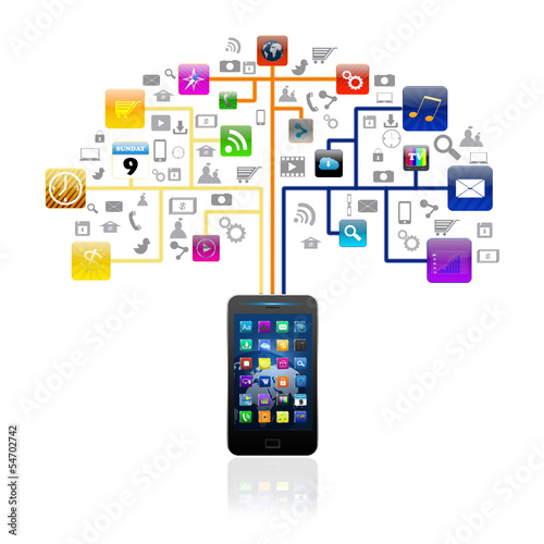 Social media with smartphone  colorful application icon,isolated