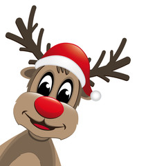 reindeer red nose and santa claus hat
