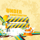 illustration of under construction background with road barrier