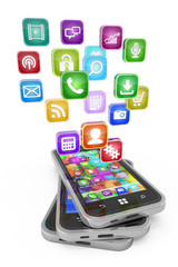 Smartphones with cloud of application icons isolated