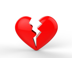 Broken heart / heartbreak shape on the white background