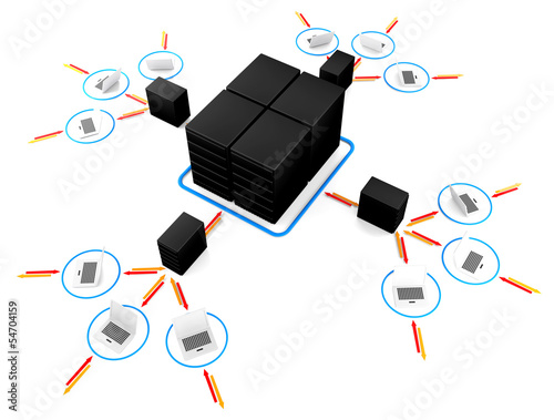 laptop with  big server NetWork. 3D Image