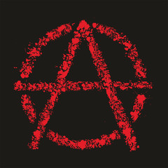 Grunge anarchy symbol , vector illustration